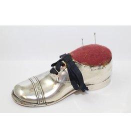 Zilveren Speldenkussen Grote schoen met houten zool
