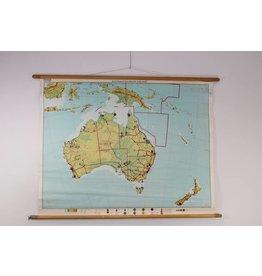 Vintage Schoolkaart van Australië en Nieuw-Zeeland 100 x 136