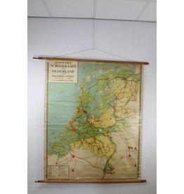 Vintage Schoolkaart van Nederland 170 x 160