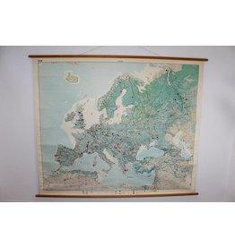 Vintage Schoolkaart van Europa 180 x 220