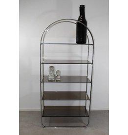 chrome glass shelves etagere