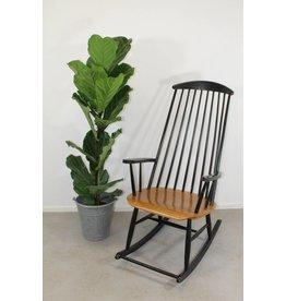 Deense vintage schommelstoel zwart bruin