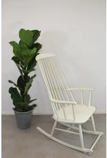 Deense vintage schommelstoel witte kleur