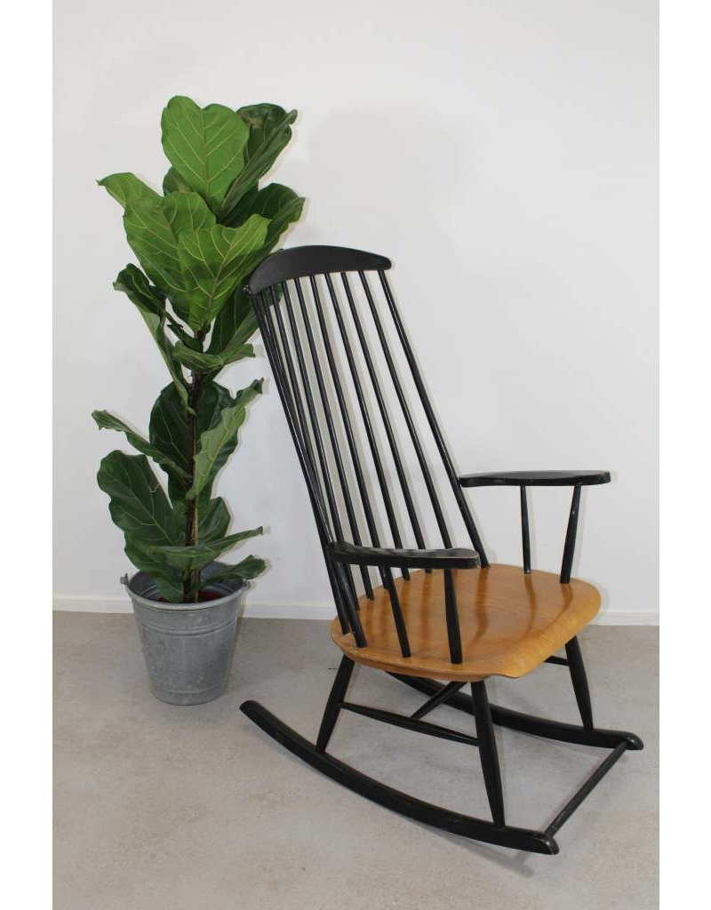 Super Deens design, vintage schommelstoel witte kleur - Brocanteschuur QS-24
