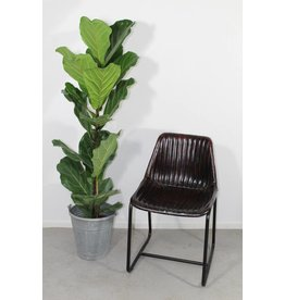 Soho side chair ribbed leer