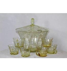 Glazen Bowlset Vintage 60's groen/geel