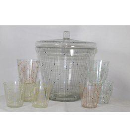 Vintage dotted glass bowl set  60s