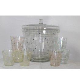 Vintage dotted glass bowl set  60s