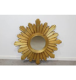 French Solar Mirror of plaster and Gold Leaf