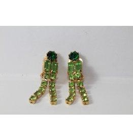 Vintage oorbellen met groene stenen