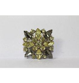 Vintage brooch green / gray stones
