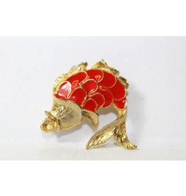 Vintage brooch gold-colored fish
