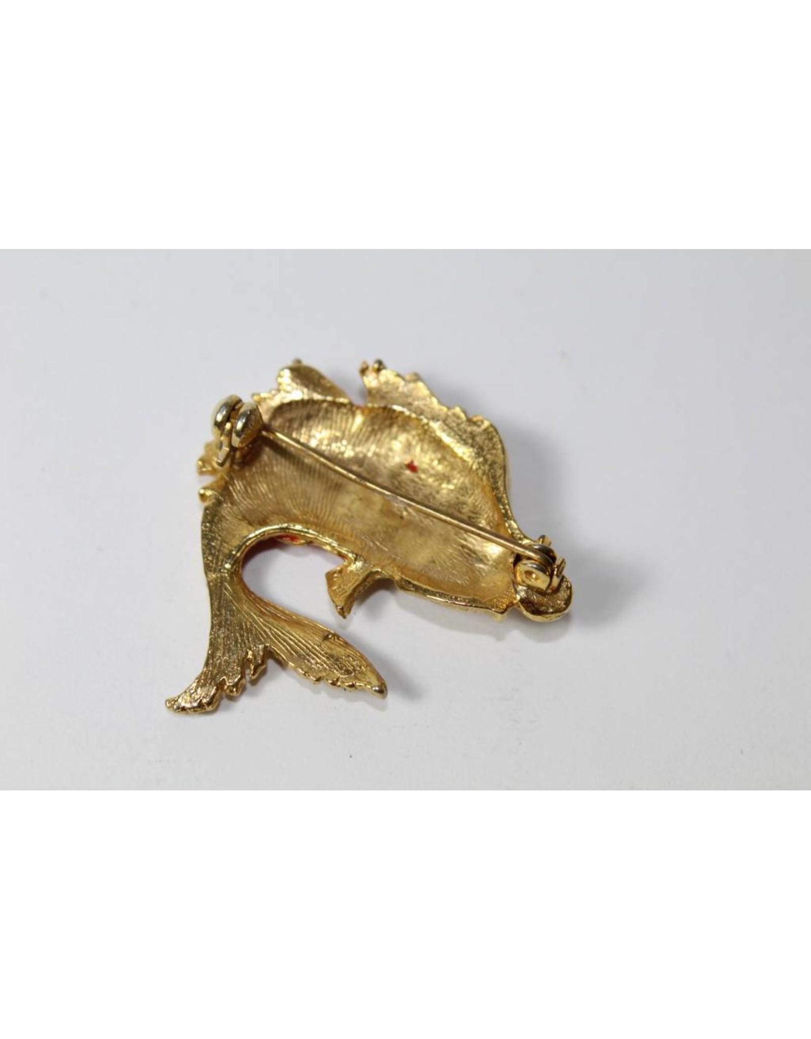 Vintage broche goudkleurig vis