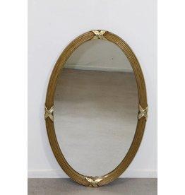 Oude ronde ovale gouden spiegel 86 x 54