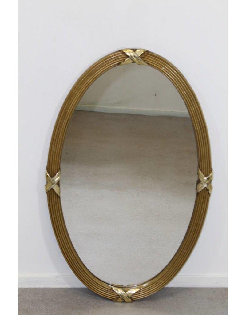 Gouden Spiegel Ovaal.Oude Ronde Ovale Gouden Spiegel 86 X 54