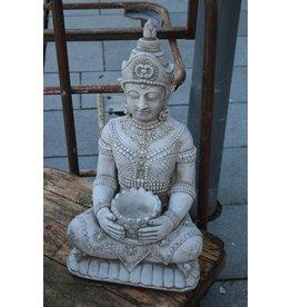 Betonnen boeddha beeld klein model met punthaar