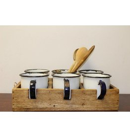 Zes mokken in houten kist set koffiemok