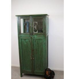 Kast met vitrine oud groen