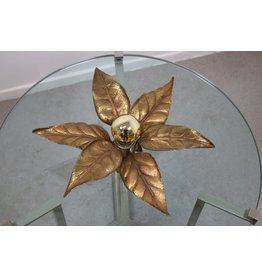 Plafondlamp goud bloem Willy Daro 1970