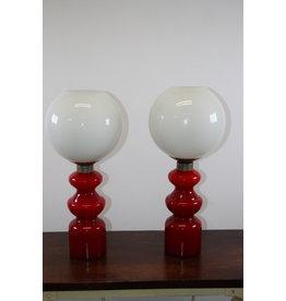 Tafellampen Rode voet Wittebol