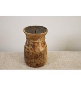 Oude houten ronde kaarsenhouder