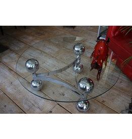 Spice Age Ronden Glazen Salontafel met Chrome Ballen