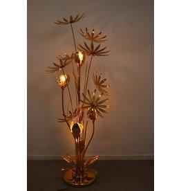 Floor lamp flower Hans Kögl Flowe 24 kt gold-plated
