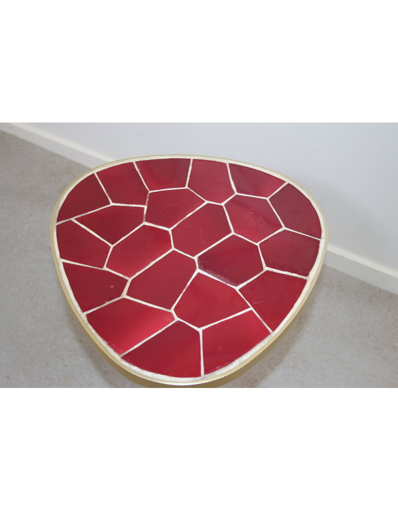 Rood Bijzet Tafeltje.Metalen Bijzet Tafeltje Met Mozaiek Tegel Rood