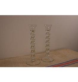 Vintage glass candlesticks set