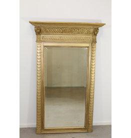 Grote Antieke Franse facet geslepen spiegel 134 x 84 met Blad gouden rand