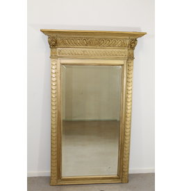 Large Antique French faceted 134 x 84 mirror with gold leaf trim