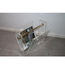 Italian Plexie glass magazine rack