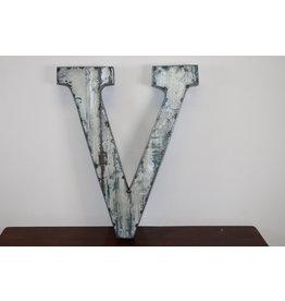 Grote metalen letter ZILVER V