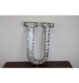 Grote metalen letter ZILVER U