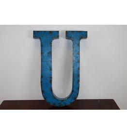 Grote metalen letter Licht BLAUWE U