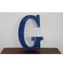Grote metalen letter Donker BLAUWE G