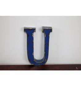 KLEINE metalen letter BLAUW U