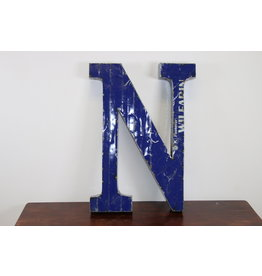 Grote metalen letter Donker BLAUW N