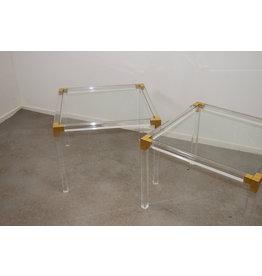 Plexiglas gouden Bijzet tafels 60 x 60 x 45 cm Charles Hollis Jones