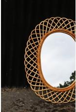 Bamboe spiegel ovaal vintage model