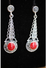 Silver earrings with red coral and marcasites