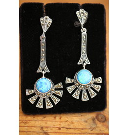 Silver earrings with Blue Opal and markasietjes