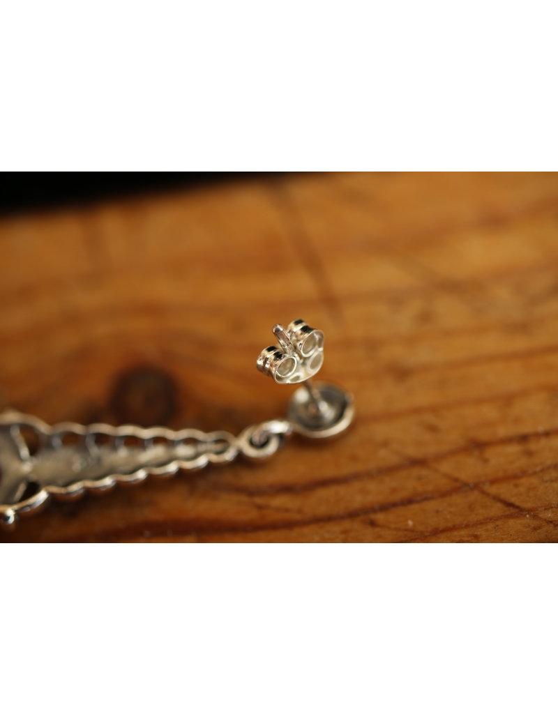 Zilveren oorbellen met Opaal en markasietjes
