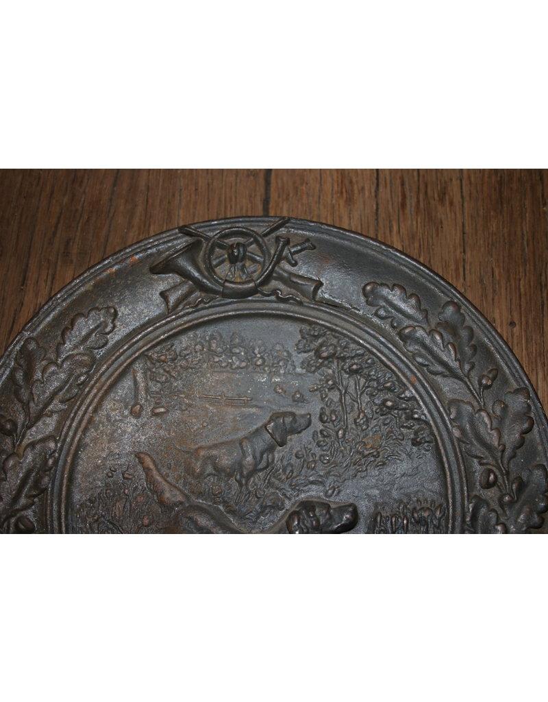 Metalen bord met jachthonden