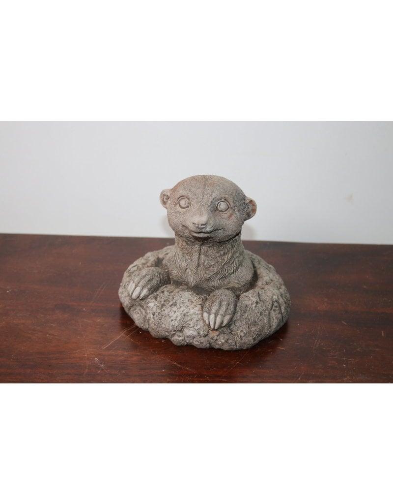 Concrete garden statue mole from its lair 15 cm high