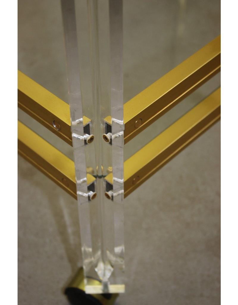 Plexiglass Golden Drinking trolley Tea trolley Coctail trolley,