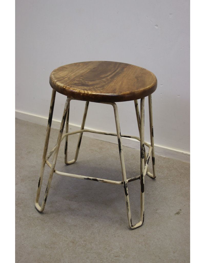 Industrial kitchen stool or nice Bedroom stool with white frame
