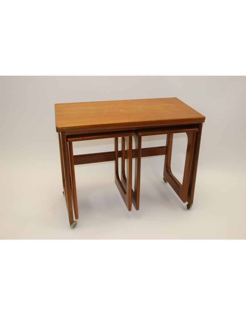 Mcintosh Vintage Triform Mid Century 60s 70s Teak Extending Nest Of Tables