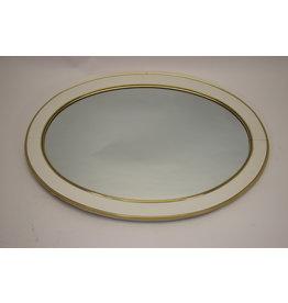Grote Ovale Wandspiegel met Witte En Gouden rand 77 cm