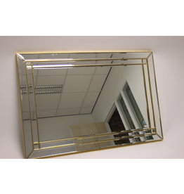 Large golden faceted Wall Mirror Deknudt Belgium 80s 140 x 95 cm